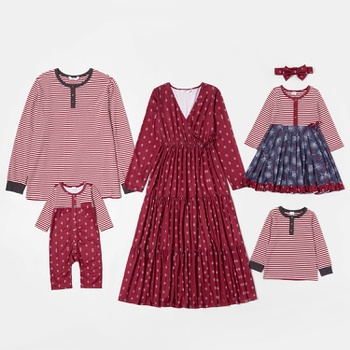Mosaic Family Matching Red Sets(V-neck Dresses - Long Sleeve T-shirts - Rompers)