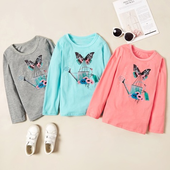 Beautiful Butterfly Print Longsleeves Tees