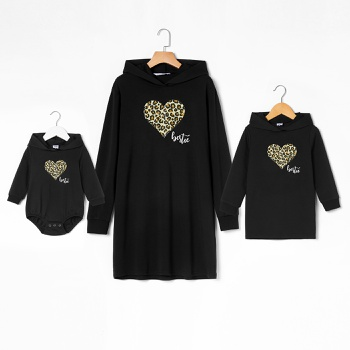 Leopard Heart Pattern Print Hoodie Sweater Dresses for Mommy and Me