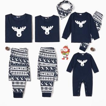 Family Matching Reindeer Print Christmas Pajamas Sets (Flame Resistant)