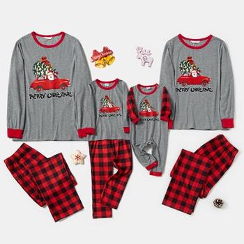 Family Matching ' Santa Driving Red Car ' Plaid Christmas Pajamas Sets (Flame Resistant)