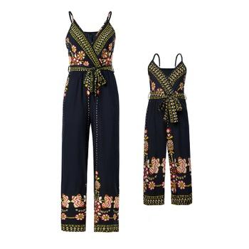 Floral Print V-neck Sling Jumpsuits for Mommy-girl-baby