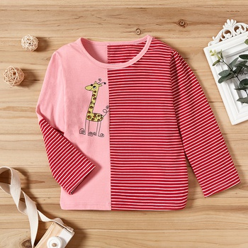 Baby / Toddler Giraffe and Striped Splice Long-sleeve Tee