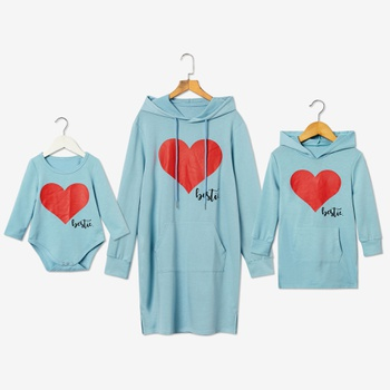 Mosaic Bestie Heart Pattern Hooded Cotton Dress for Mommy and Me