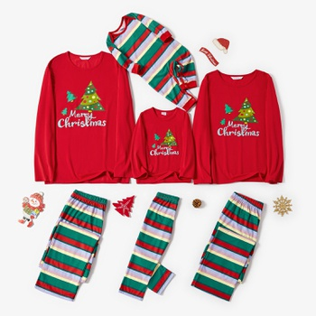 Family Matching Christmas Tree Print Striped Pajamas Sets (Flame Resistant)