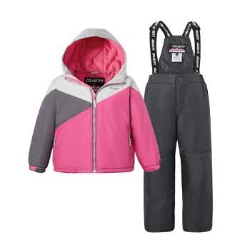 2-piece Kid Colorblock Hooded Jacket and Snow Bib Ski Suit
