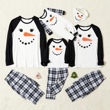 Family Matching Christmas Carrot Snowman Print Plaid Pajamas Sets (Flame Resistant)