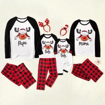 Family Matching Deer Print Plaid Christmas Pajamas Sets (Flame Resistant)