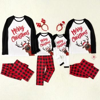 Family Matching deer Print Plaid Christmas Print Pajamas Sets(Flame resistant)
