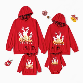 Merry Christmas Series Deer Pattern Print Family Matching Red Sweatshirts