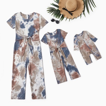Mommy and Me Tie Dye Knot Decor Jumpsuits