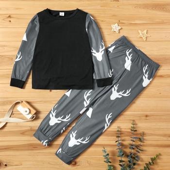 Trendy Elk Print Sweatshirt and Allover Pants Set