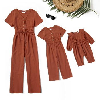 Mommy and Me 100% Cotton Short-sleeve Solid Jumpsuits