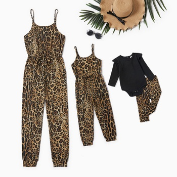 Leopard Sling Jumpsuits for Mommy and Me