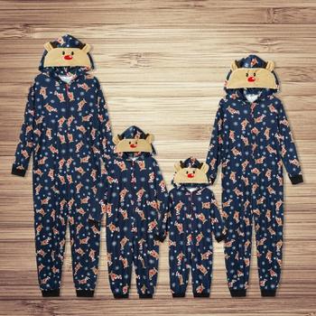 Mosaic Reindeer Family Matching Hooded Onesies Pajamas for Dad - Mom - Kid - Baby (Flame Resistant)