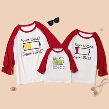 Battery Recharge Series Family Matching Raglan Long Sleeves T-shirts