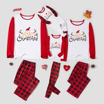 Family Matching Merry Christmas Letter Print Plaid Pajamas Sets
