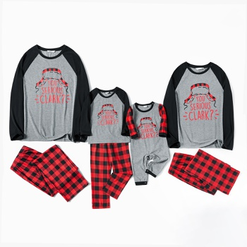 Family Matching ' You Serious Clark ' Top and Plaid Pants Christmas Pajamas Sets(Flame Resistant)