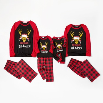 Elk and Letter Family Matching Pajamas Sets(Flame resistant)