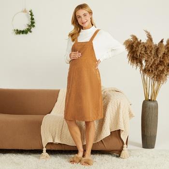 Maternity casual Plain Khaki Strap dress