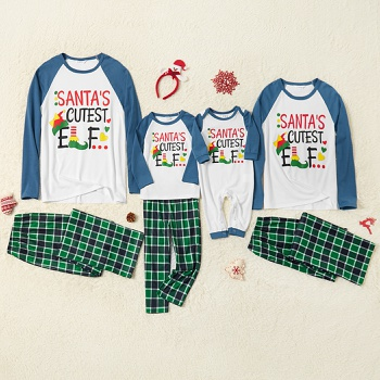 Family Matching ' Santa's Cutest Elf ' Print Christmas Pajamas Sets(Flame Resistant)