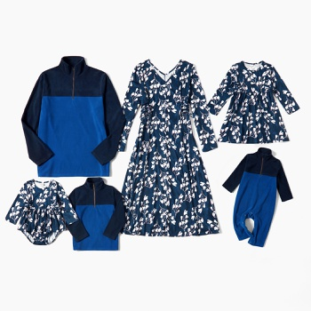 Mosaic Family Matching Floral Blue Series Sets(V-neck Dresses - Tops - Rompers)