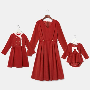 Mommy and Me 100% Cotton Long-sleeve Solid Dresses