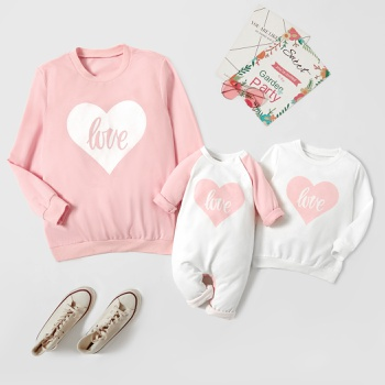 Love Print White and Pink Sweatshirts for Mom and Me
