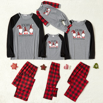Family Matching Christmas Gnome Print Plaid Christmas Pajamas Sets (Flame Resistant)
