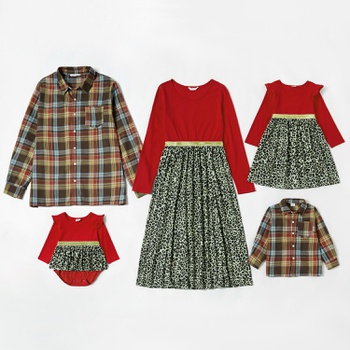 Mosaic Family Matching Warm Color Sets(Plaid Button Front Shirts - Leopard Splice Dresses - Rompers)
