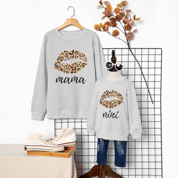Leopard Mouth Print Grey Sweatshirts for Mom and Me