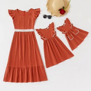 Ruffle Shoulder Matching Cotton Dresses