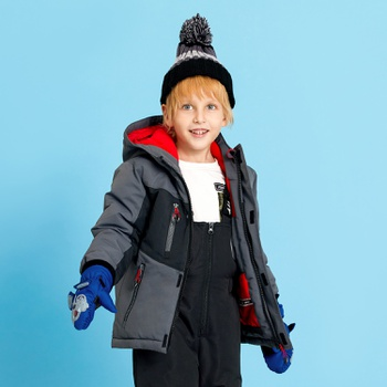 2-piece Toddler Splice Hooded Jacket and Snow Bib Ski Suit