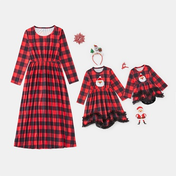 Christmas Plaid Lace Decor Long-sleeve Dresses for Mommy and Me