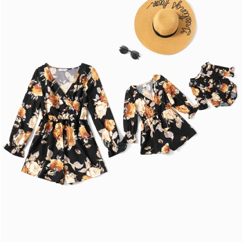 Mommy and Me Floral Print V-neck Rompers