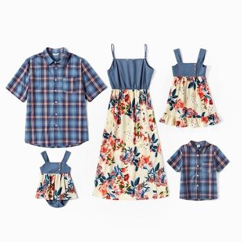 Mosaic Family Matching Denim Sets(Floral Tank Dresses - Plaid Short Sleeve Shirts - Rompers)