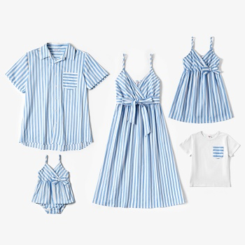 Mosaic Family Matching Blue and White Stripe Series Sets