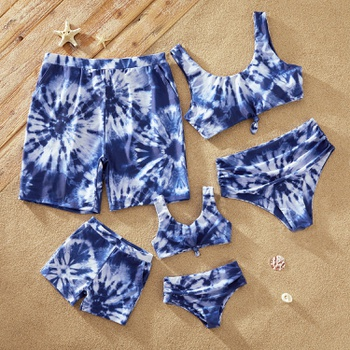 Family Look Tie Dye Print Matching Swimsuits