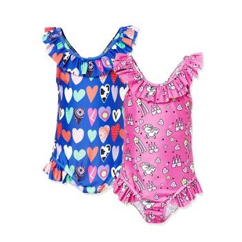 Trendy Love Allover Print Ruffled Swimsuit
