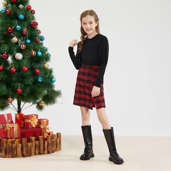 Kid Girl Solid Top & Plaid Skirt Set