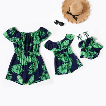 Mommy and Me Leaves Printed Ruffle Off-shoulder Rompers