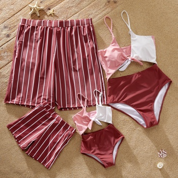 Cute Colorblock Cutout One-piece Matching Swimsuits