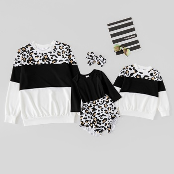 Color Block Stitching Leopard Matching Sweatshirts