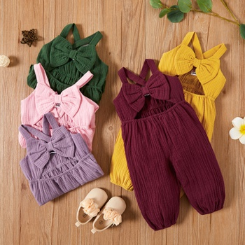 Baby Girl Sweet Bowknot Jumpsuits