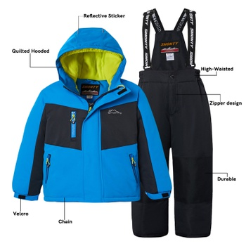 Kid Snowsuit Windproof Waterproof Hooded Quilted Jacket and Adjustable Snow Bib