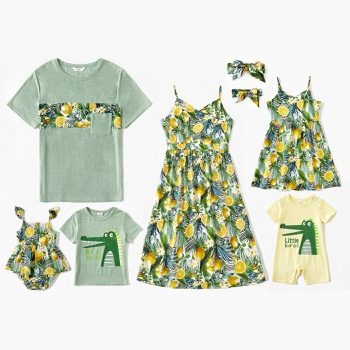 Mosaic Family Dinosaur Pattern Top and Lemon Print Dress Sets