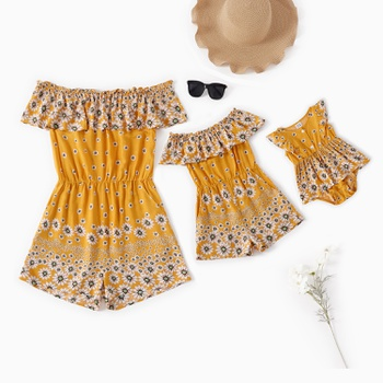 Mommy and Me Daisy Printed Ruffle Off-shoulder Rompers