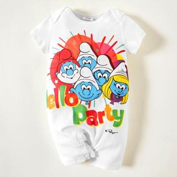 Smurfs Baby Boy Hello Party 100%Cotton Romper/One Piece