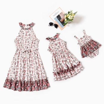 Floral Print Sleeveless Dresses for Mommy and Me