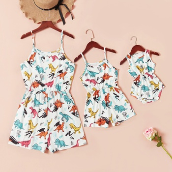 Mommy and Me Animal Dinosaur Print Matching Rompers